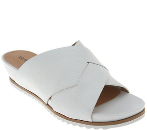 Vaneli Leather Cross Band Low Wedge Slides - Hilde Size 5-1/2 - Midtown Bargains