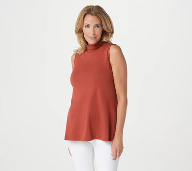 Isaac Mizrahi Live! Essentials Pima Mock-Neck Sleeveless Top - Midtown Bargains