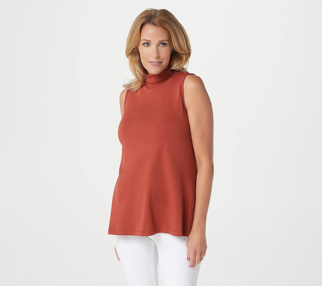 Isaac Mizrahi Live! Essentials Pima Mock-Neck Sleeveless Top