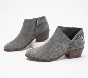 Vince Camuto Suede Booties with Buckle Detail - Parveen, Size 6 - Midtown Bargains