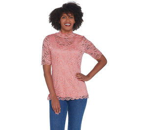 Isaac Mizrahi Live! Stretch Lace Mock Neck Top, Small, **Cream