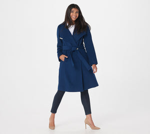 Dennis Basso Wool Blend Wrap Coat with Envelope Collar, Size 12 - Midtown Bargains