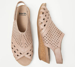 Earth Leather Perforated Wedge Sandals- Pisa Galli Dusty Pink,7-1/2 Medium - Midtown Bargains