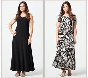 Attitudes by Renee Petite Como Jersey Set of 2 Maxi Dresses Size Petite Medium, Petite Large - Midtown Bargains