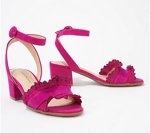 Isaac Mizrahi Live! Suede Block Heel Sandals with Ruffle - Midtown Bargains
