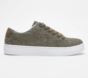 Isaac Mizrahi Live! Lace-Up Floral Lace Sneakers Camo Green,6 Medium - Midtown Bargains