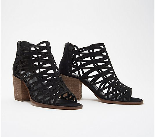 Vince Camuto Leather Cut-Out Heeled Sandals- Kevston - Midtown Bargains