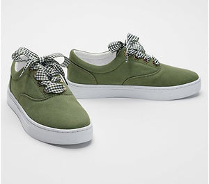 Isaac Mizrahi Live! Canvas Sneakers with Gingham Laces - Midtown Bargains
