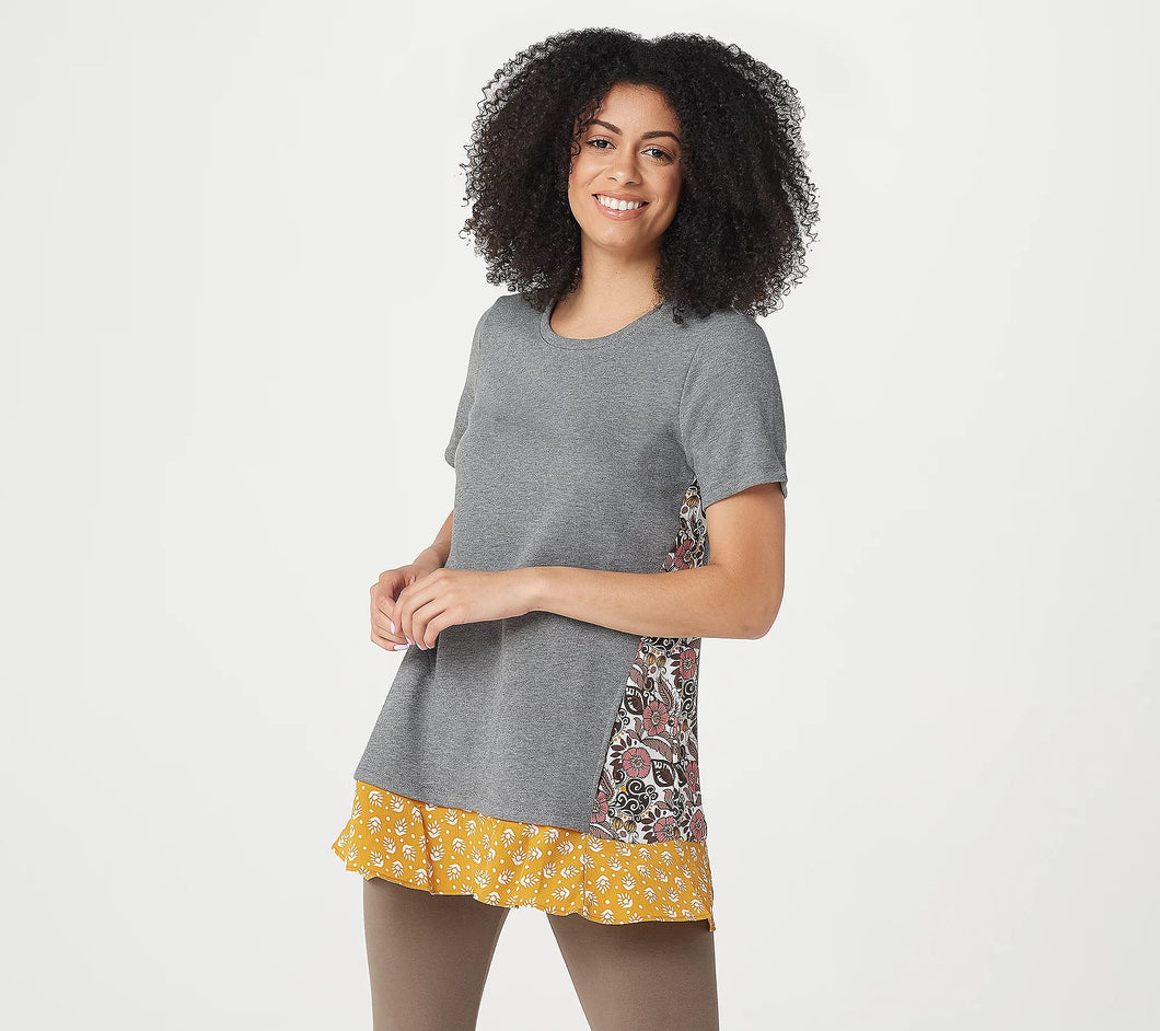 LOGO Lounge by Lori Goldstein Classic French Terry Top with Woven Panels Steel Grey,Medium - Midtown Bargains