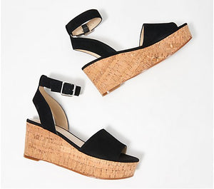 Marc Fisher Leather Wedge Sandals, Rillia, Size 5-1/2 - Midtown Bargains
