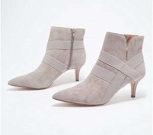 G.I.L.I. Pointed Toe Suede Ankle Booties, Georgette, Size 5-1/2 - Midtown Bargains