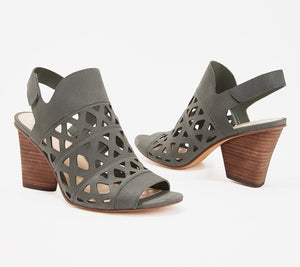 Vince Camuto Cutout Nubuck Heeled Sandals, Deverly, Size 10 - Midtown Bargains