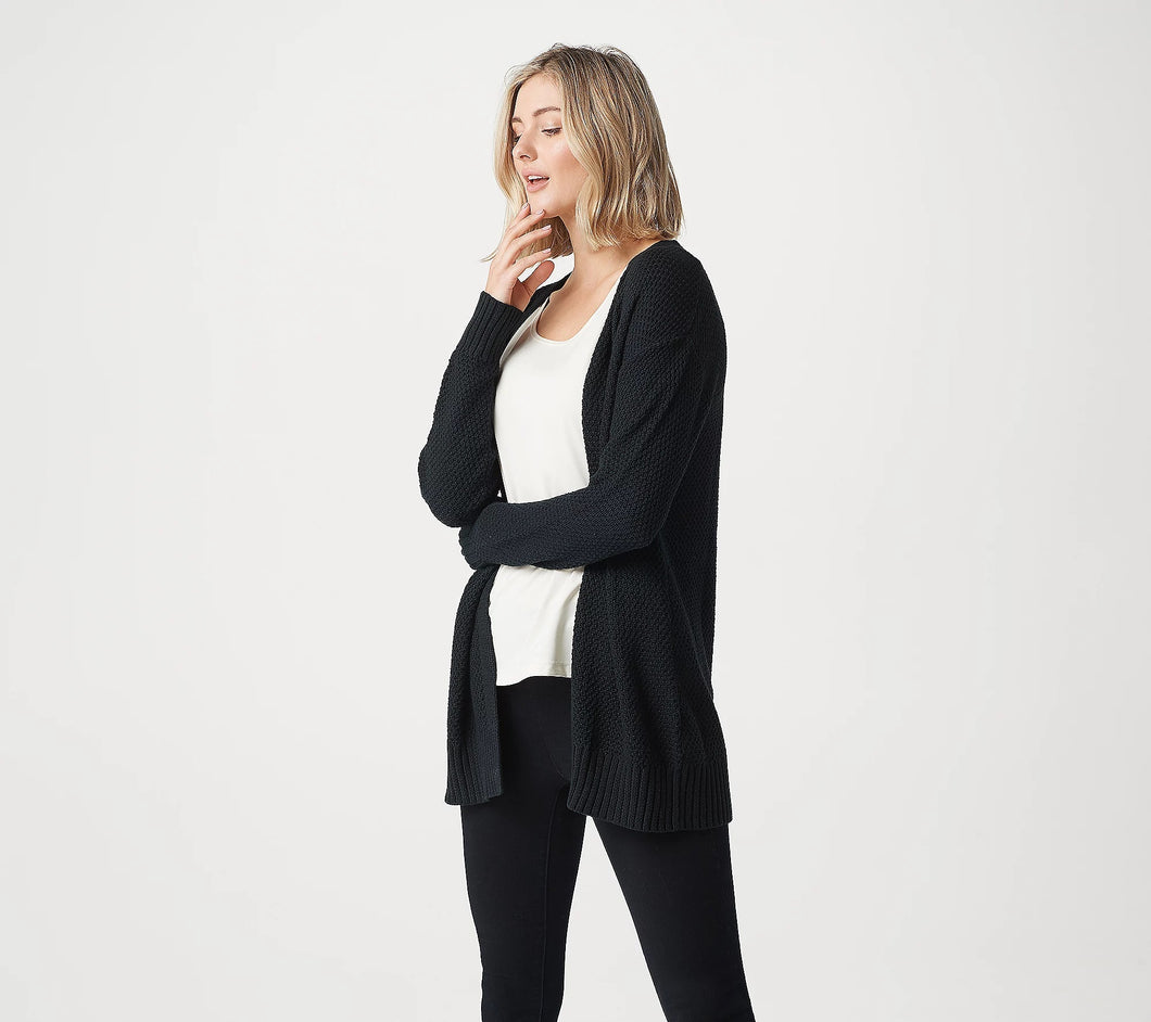 Lisa Rinna Collection Long-Sleeve Cardigan with Back Detail Black,Large - Midtown Bargains