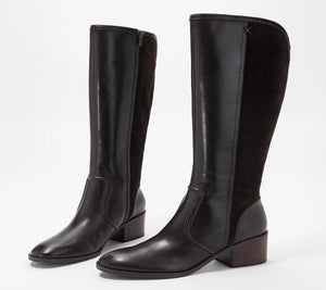 Marc Fisher Medium Calf Leather Tall Shaft Boots - Riyea Coffee Bean 10 Wide - Midtown Bargains