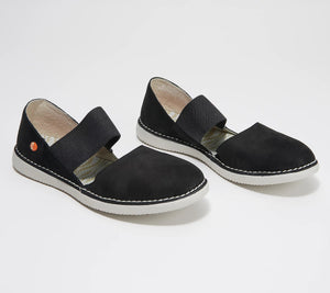Softinos by FLY London Leather Mary Jane Shoes - Teja Black,EU40 (9-9.5) - Midtown Bargains