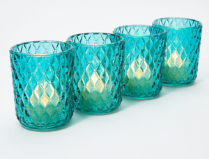 Set of 4 Illuminated Diamond Design Glass Votives, Teal - Midtown Bargains