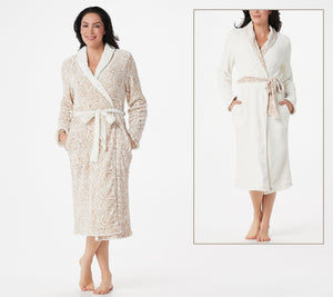 Reversible Velvet Soft Signature Rose Robe, Seaglass - Midtown Bargains