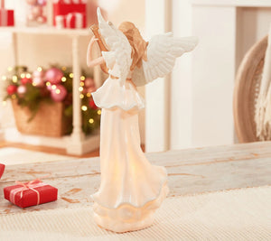 Illuminated Porcelain Angel Holding Violin by Valerie Valerie Parr Hill - Midtown Bargains