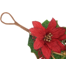 4' Glittered Poinsettia Garland by Valerie - Midtown Bargains