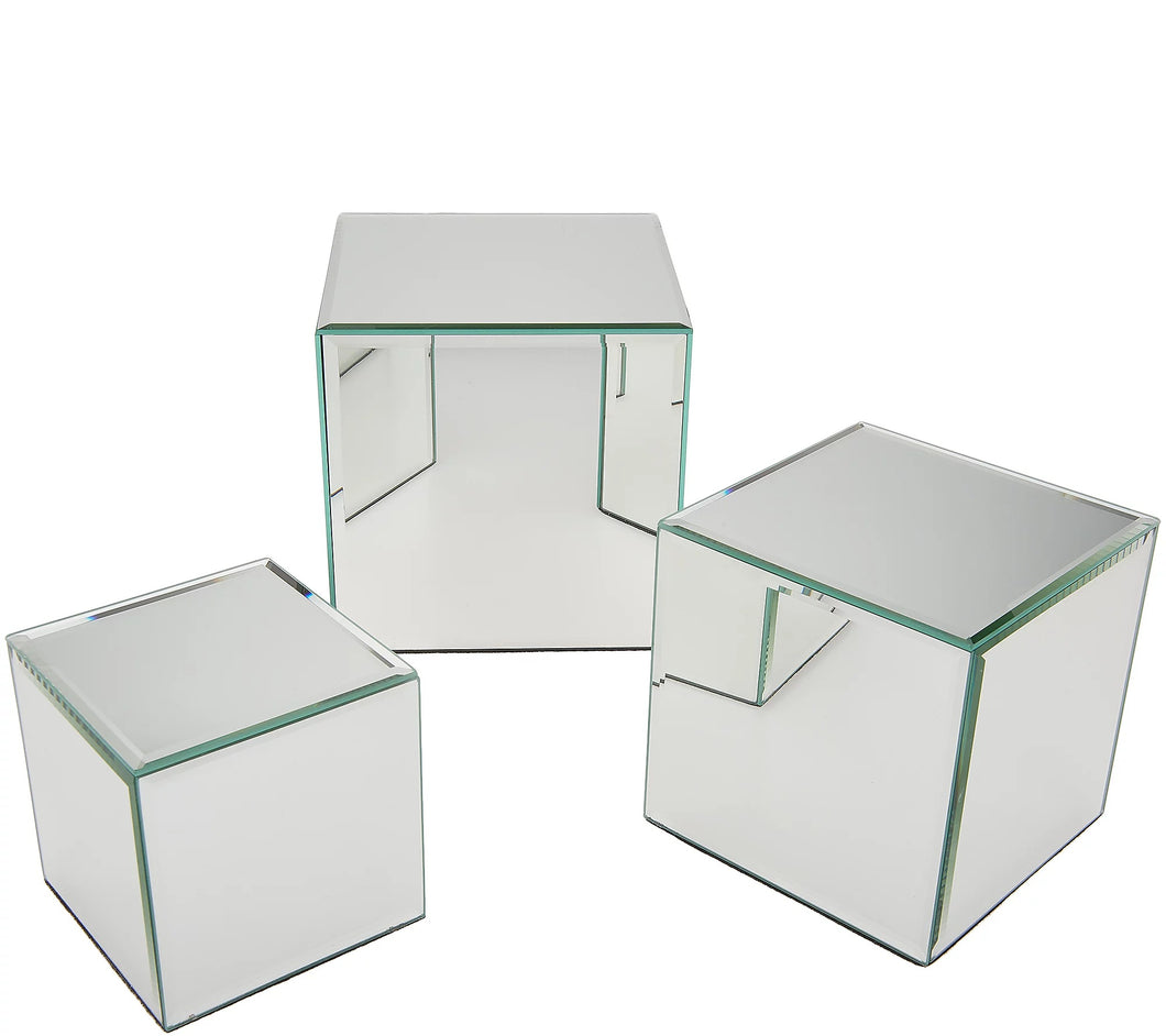 Set of 3 Mirrored Accent Boxes by Valerie - Midtown Bargains
