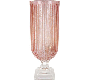 Illuminated Ribbed Mercury Glass Hurricane by Valerie Blush, - Midtown Bargains