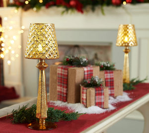 """As Is"" S/2 13"" Mercury Glass Accent Lamps With Tealights by Valerie Gold, - Midtown Bargains"