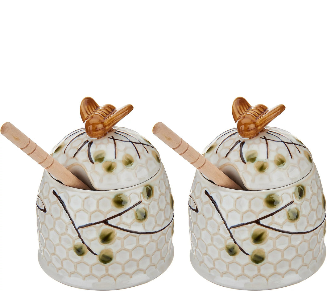 Set of 2 Beehive Honey Pots by Valerie - Midtown Bargains