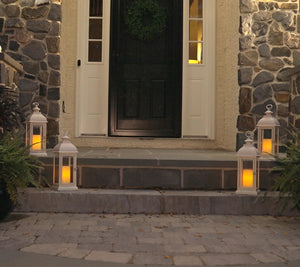 "Candle Impressions Indoor/Outdoor Set of (2) 15"" Lanterns - Midtown Bargains"