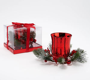 """As Is"" Kringle Express Set of 2 Lit Mercury Glass Votives with Gift Box Red Color - Midtown Bargains"