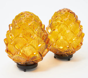 "Set of 2 Illuminated 8"" Glass Pinecones by Valerie Amber, - Midtown Bargains"
