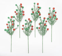 Set of 6 Glittered Curly Holiday Stems by Valerie ***Red/White Color - Midtown Bargains