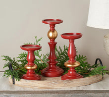 Set of 3 Candle Holders with Pine and Ribbon Accent by Valerie - Midtown Bargains