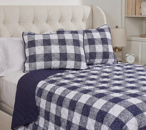 Home Reflections Printed King Quilt Set Grey Plaid, - Midtown Bargains