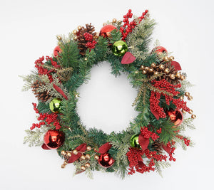 """As Is"" Indoor/ Outdoor Illuminated 24"" Holiday Wreath - Midtown Bargains"
