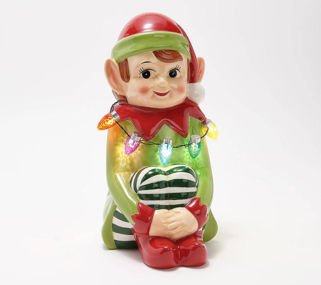 Mr. Christmas Nostalgic Ceramic Tabletop Figure Elf, - Midtown Bargains