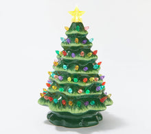 "Mr. Christmas 8"" Illuminated Starry Light Nostalgic Ceramic Tree White, - Midtown Bargains"