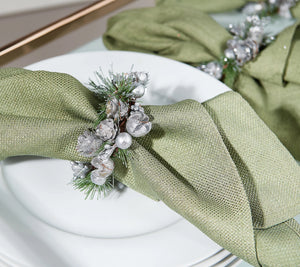 Set of 6 Pinecone and Berry Napkin Rings by Valerie Silver, - Midtown Bargains