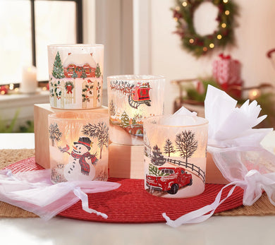 Set of 4 Frosted Glass Votives with Tealights and Gift Bags by Valerie - Midtown Bargains