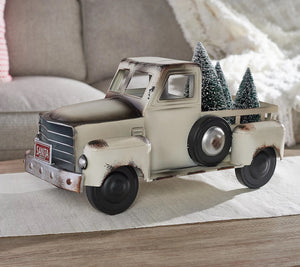 Vintage Metal Ivory Truck w/ 3 Removable Bottlebrush Trees byValerie Ivory, - Midtown Bargains