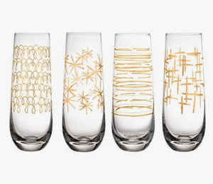Soirée Festive Set of 4 Stemless Champagne Flutes - Midtown Bargains