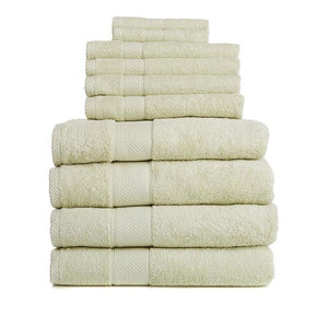 Egyptian Cotton 10-piece Bath Towel Set by Concierge Collection, Light Green - Midtown Bargains