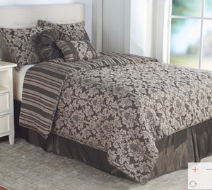 Clearance: 70% Off Northern Nights Jacquard Reversible 7-Piece King Comforter Set, Mocha