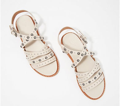 Frye Embellished Leather Multi-Strap Sandals, Andora, Size 10 - Midtown Bargains