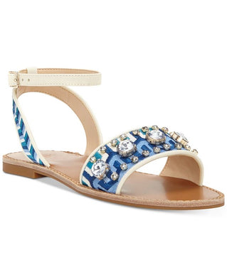 Vince Camuto Embroidered Sandals With Ankle Strap, Size 7.5 - Midtown Bargains