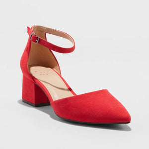 Women's Natalia Microsuede Pointed Toe Block Heeled Pumps Shoes