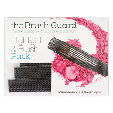 Makeup Brush Guard Protector Sleeve For Highlight & Blush Brushes, 5-Pack, Graphite, Medium