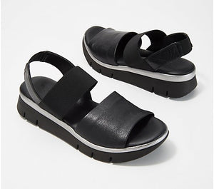 The Flexx Leather Back-Strap Sandals, Cushy, Black - Midtown Bargains