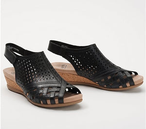 Earth Brands Leather Perforated Wedge Sandals, Pisa Galli, Black - Midtown Bargains