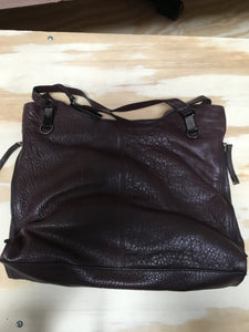 """As Is"" Vince Camuto Lamb Leather Tote Handbag- Eliza, Black Cherry, - Midtown Bargains"