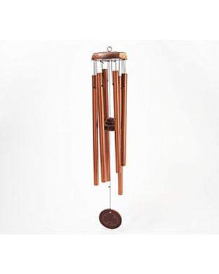 Michael Vignoles Wood and Steel Shamrock Wind Chimes Coppertone,